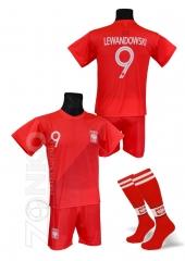 461d14c1ab2d92 strój sportowy + getry LEWANDOWSKI Polska czerwony