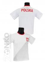koszulka sportowa kibica POLSKI biała (K-07)