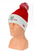 czapka zimowa POLSKI  prosta czerwona z wywinięciem wzór P-14