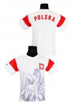 koszulka sportowa kibica POLSKI biała orzeł (K-03)