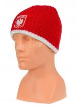 czapka zimowa POLSKI czerwona (herb) wzór G-11