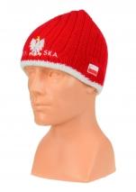czapka zimowa POLSKI czerwona (napis pół na pół) wzór G-12