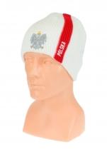 czapka zimowa POLSKI biała (pionowy pas - orzeł) wzór G-13