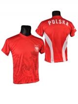 Koszulka sportowa kibica POLSKI czerwona  orzeł (K-04)