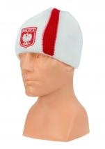 czapka zimowa POLSKI biała (pionowy pas - herb) wzór G-14