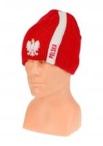 czapka zimowa POLSKI czerwona (pionowy pas - orzeł) wzór G-15