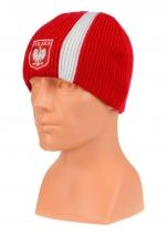 czapka zimowa POLSKI czerwona (pionowy pas - herb) wzór G-16