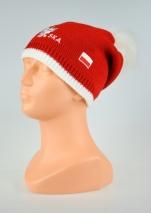 czapka zimowa POLSKI czerwona zszywana z pomponem wzór P-02