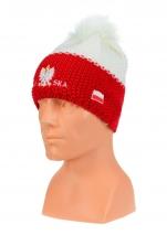 czapka zimowa POLSKI biało                        czerwona (ryż - napis pół na pół) wzór P-06